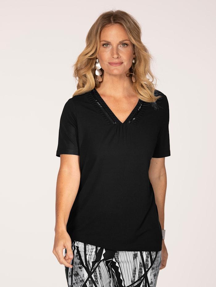 MONA Shirt mit Perlenbesatz am Kragen, Schwarz