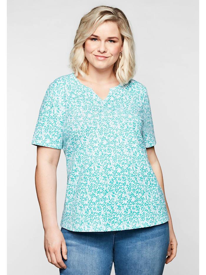 Sheego Shirt mit floralem Alloverprint und leichter A-Linie, karibiktürkis bedruckt