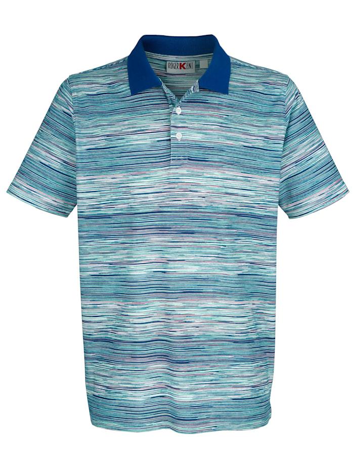 Roger Kent Poloshirt mit Streifendruck rundum, Mintgrün/Blau/Rosé