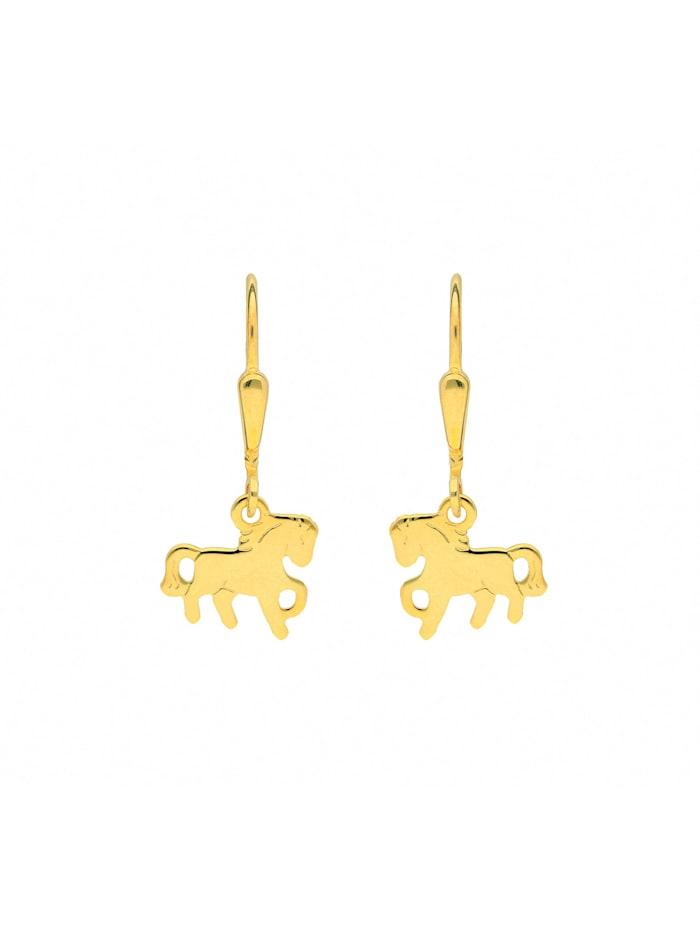1001 Diamonds Damen Goldschmuck 585 Gold Ohrringe / Ohrhänger Pferd, gold