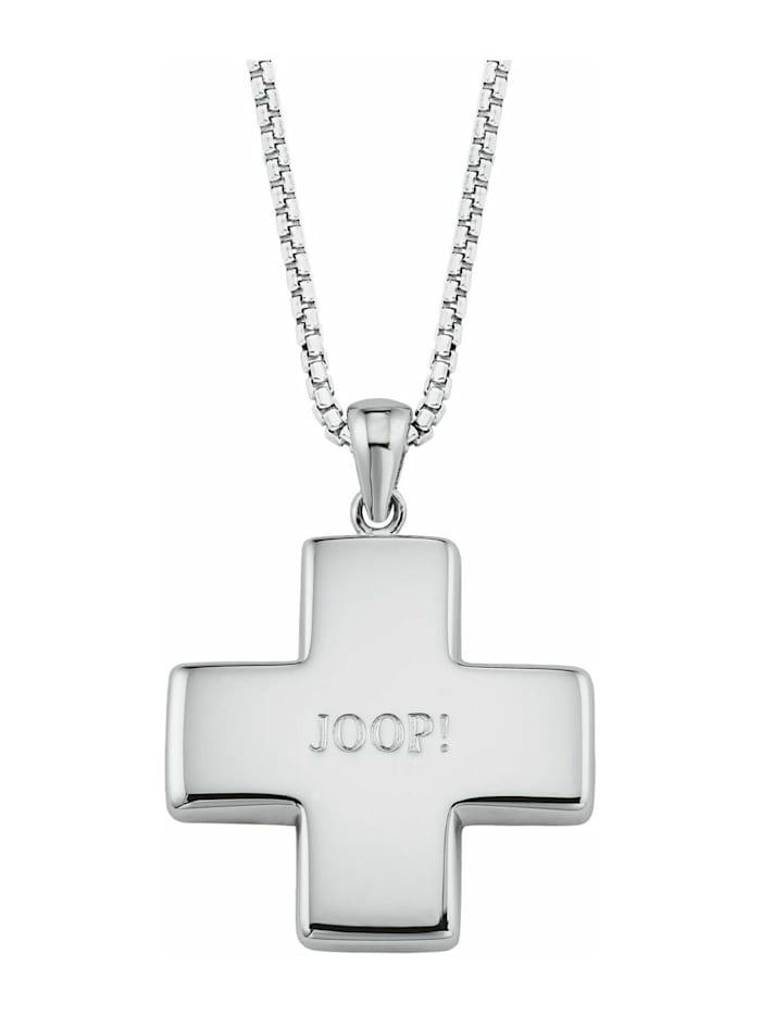 JOOP! Kette mit Anhänger für Damen, Sterling Silber 925, Kreuz, Silber
