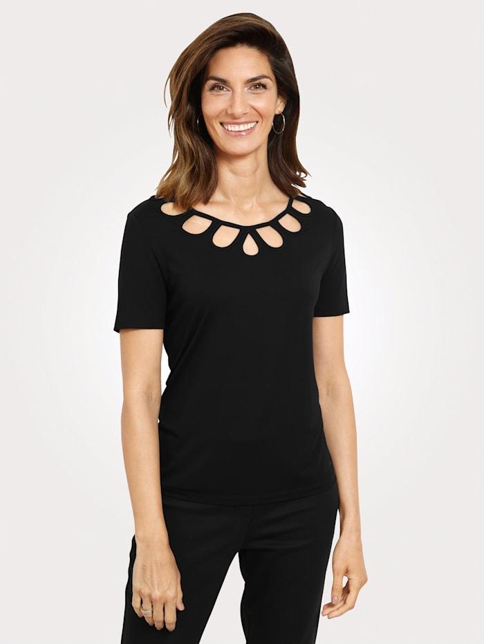 MONA Shirt mit modischem Ausschnitt, Schwarz