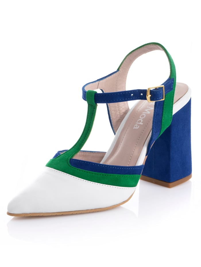 Alba Moda Slingpumps aus Ziegenleder, Royalblau/Weiß/Grün