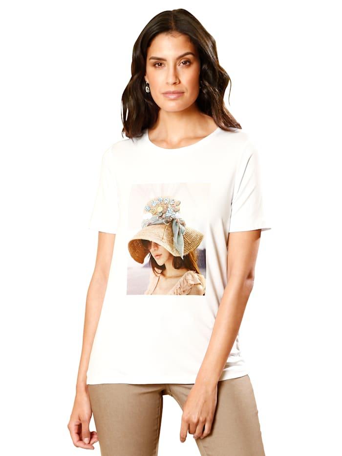 AMY VERMONT Shirt mit Druck und Paillettenzier, Weiß
