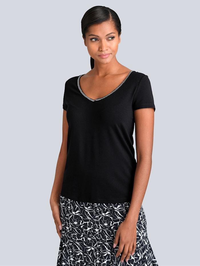 Alba Moda V-Shirt mit Strassapplikation, Schwarz