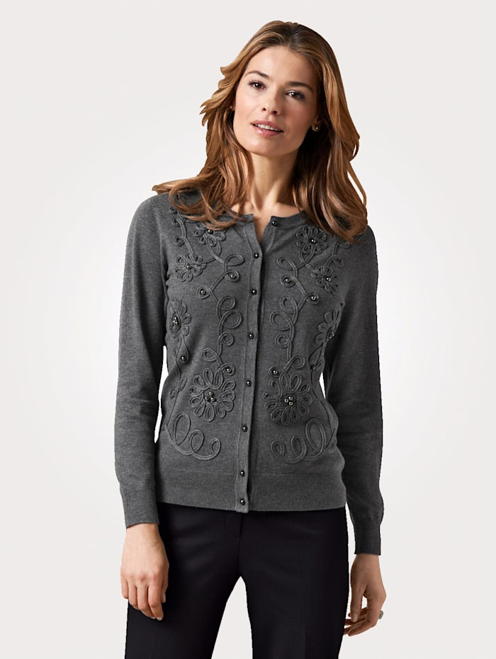 MONA Cardigan with ribbon and faux pearls, Grey
