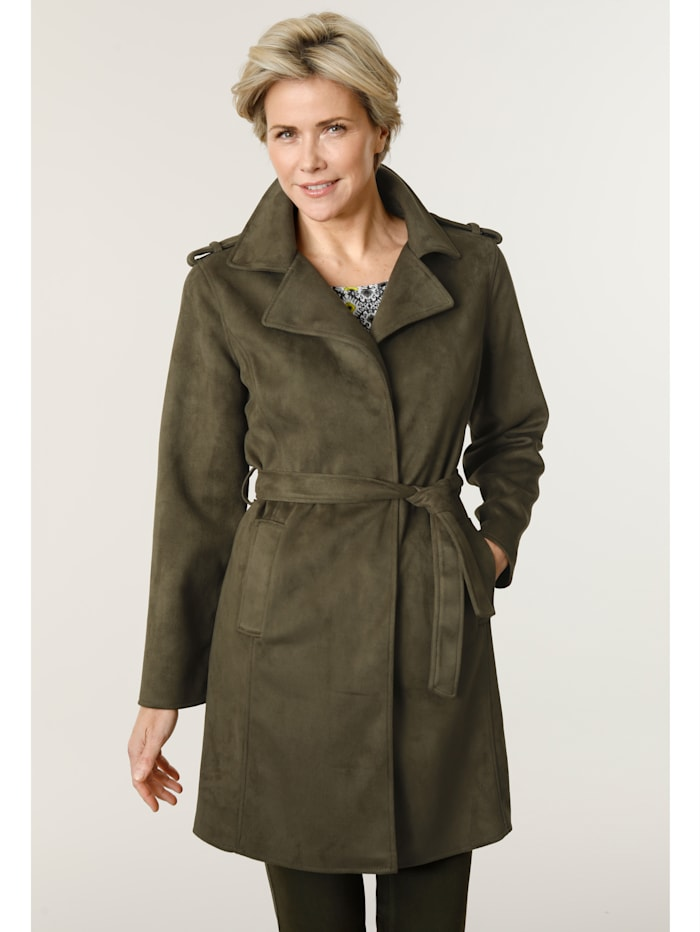 MONA Lightweight coat made from soft faux suede, Olive