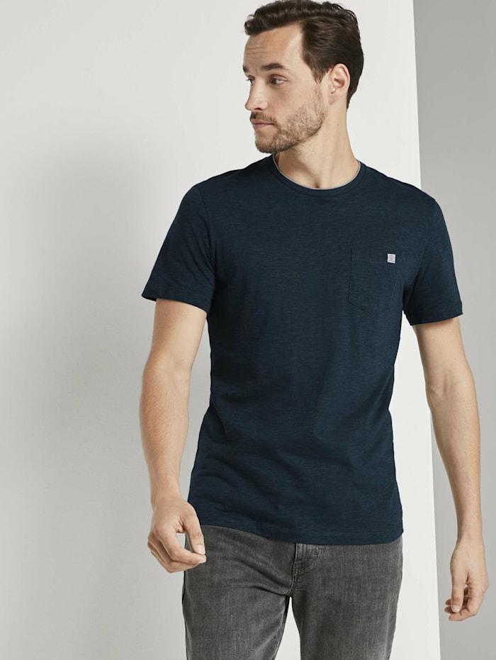 Tom Tailor Fein gestreiftes T-Shirt mit Brusttasche, dark green thin stripe