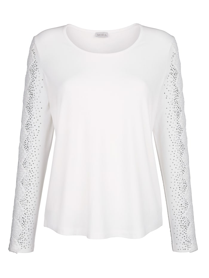 Top with lace and rhinestone detailing