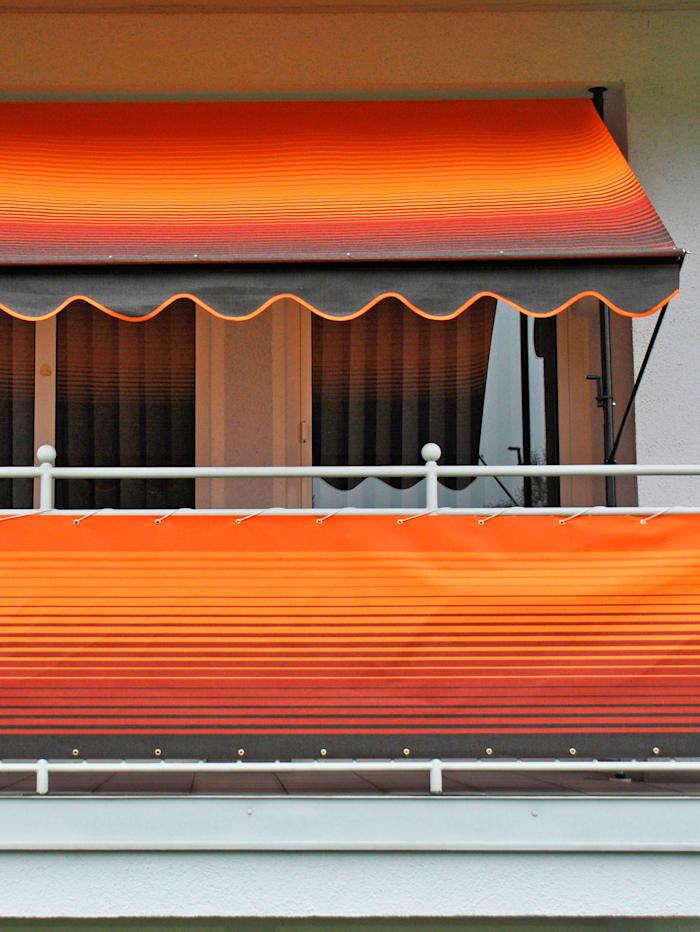 """Luxus Klemmmarkise 150 cm """"Style"""" mit Wellen-Volant in 2 Farben, Kurbelantrieb"""