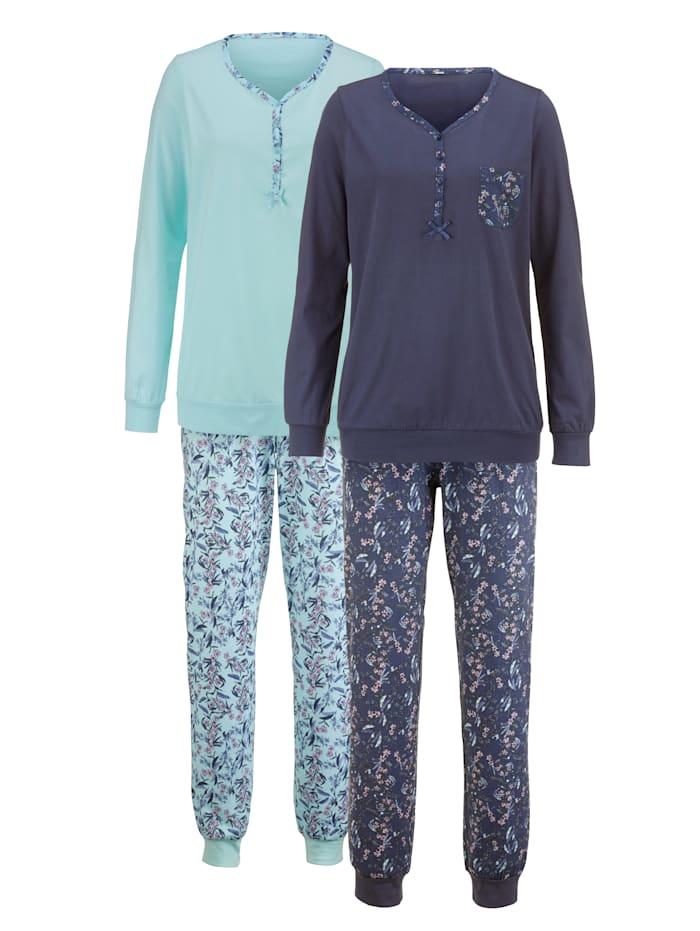 Harmony Pyjamas med mönstrad bröstficka, Blå/Ljusblå