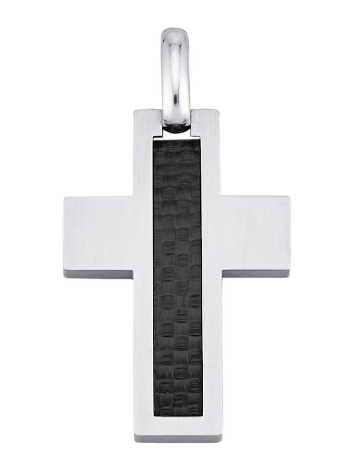 Kreuz-Anhänger mit Kohlefasereinlage, Schwarz