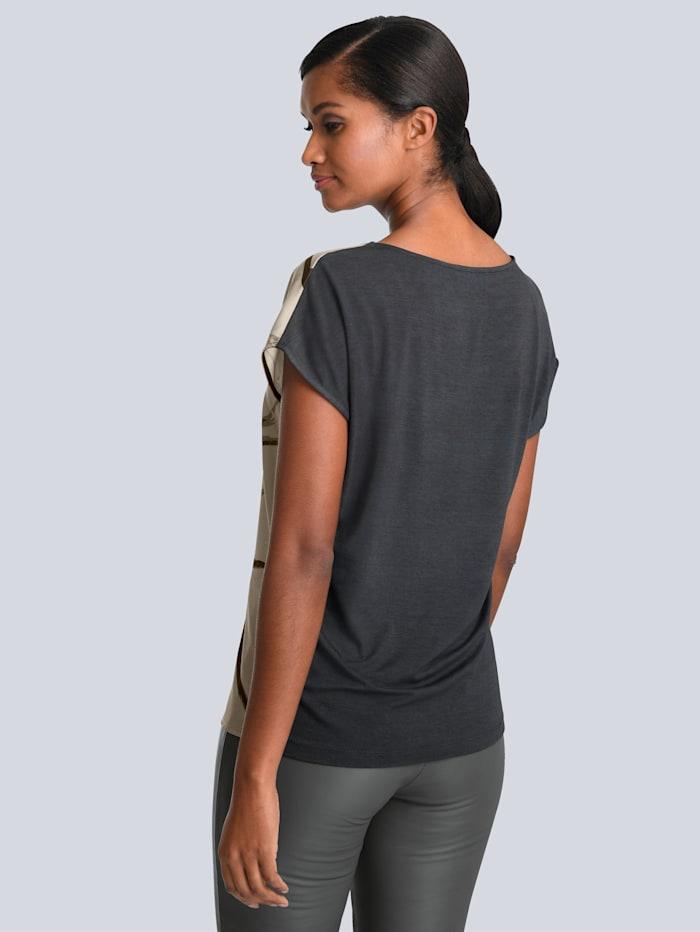 Druckshirt mit unifarbenem Rücken