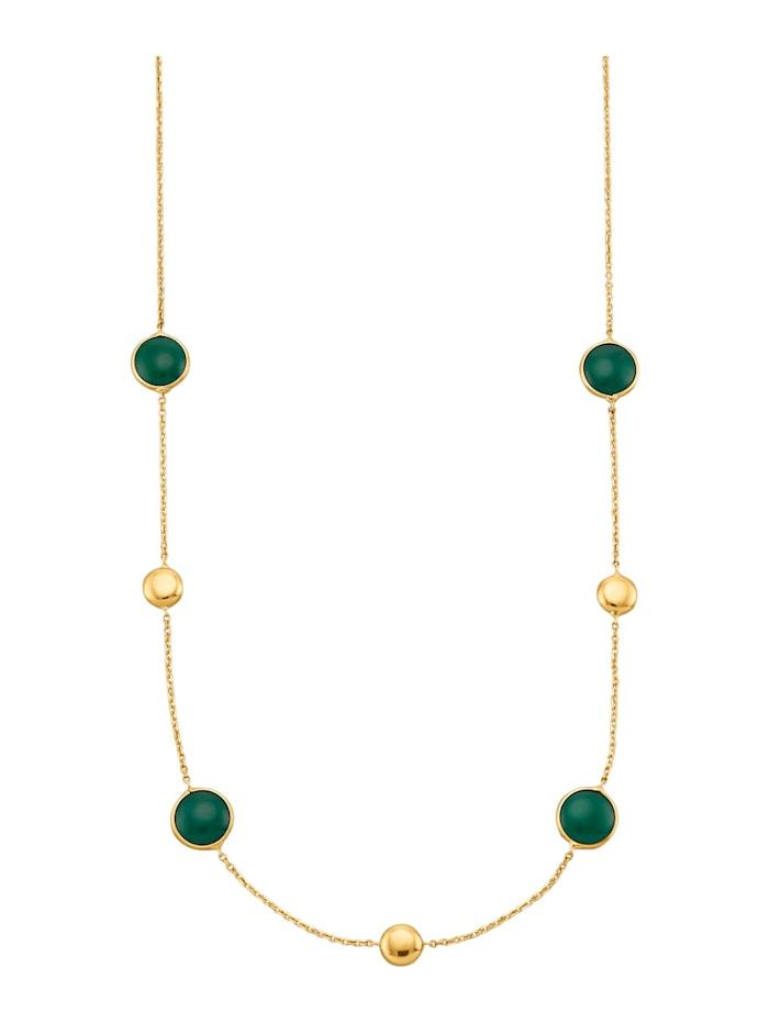 Diemer Farbstein Halskette mit Achaten, Grün