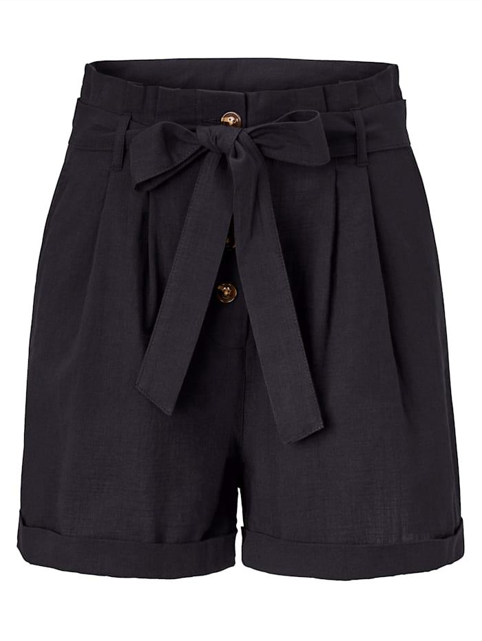 REKEN MAAR Paperbag-Shorts, Schwarz