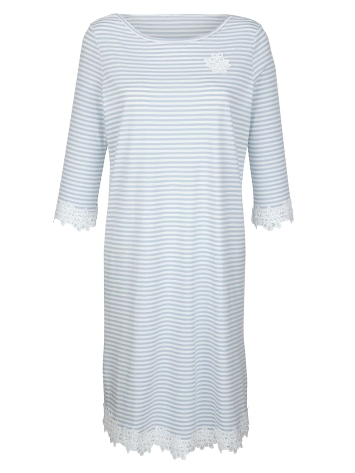 Simone Nachthemd met fraai kanten beleg, bleu/ecru