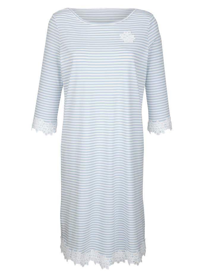 Simone Nachthemd mit süßem Spitzenmotiv, Blau/Ecru