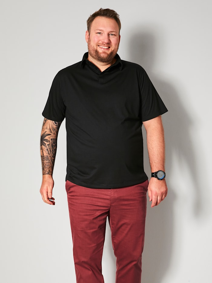 Men Plus Poloshirt met platte kraag, Zwart