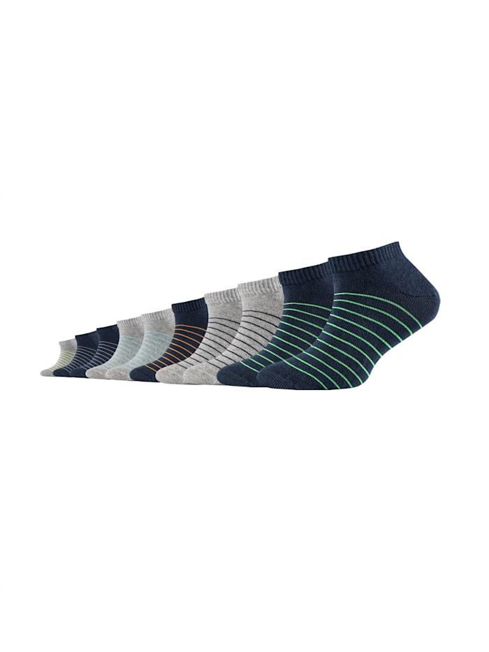 Camano Kinder Sneakersocken 10er-Pack mit farbigen Streifen, blue