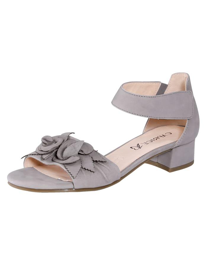 Caprice Sandale mit effektvoller, aufgesetzer Blütenapplikation., Hellgrau