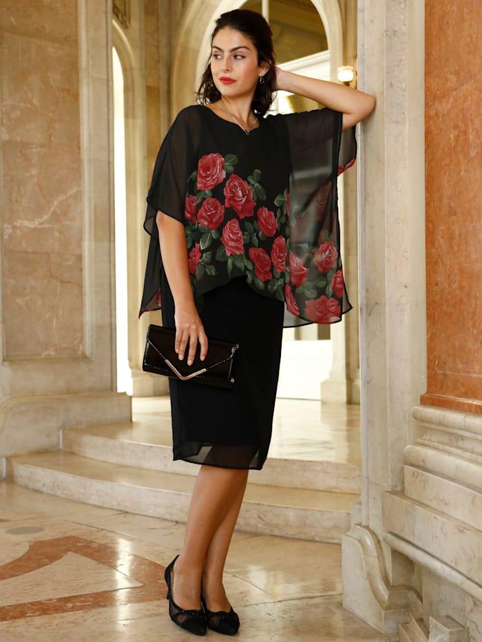 m. collection Kleid in raffinierter 2-in-1 Optik, Schwarz/Rot