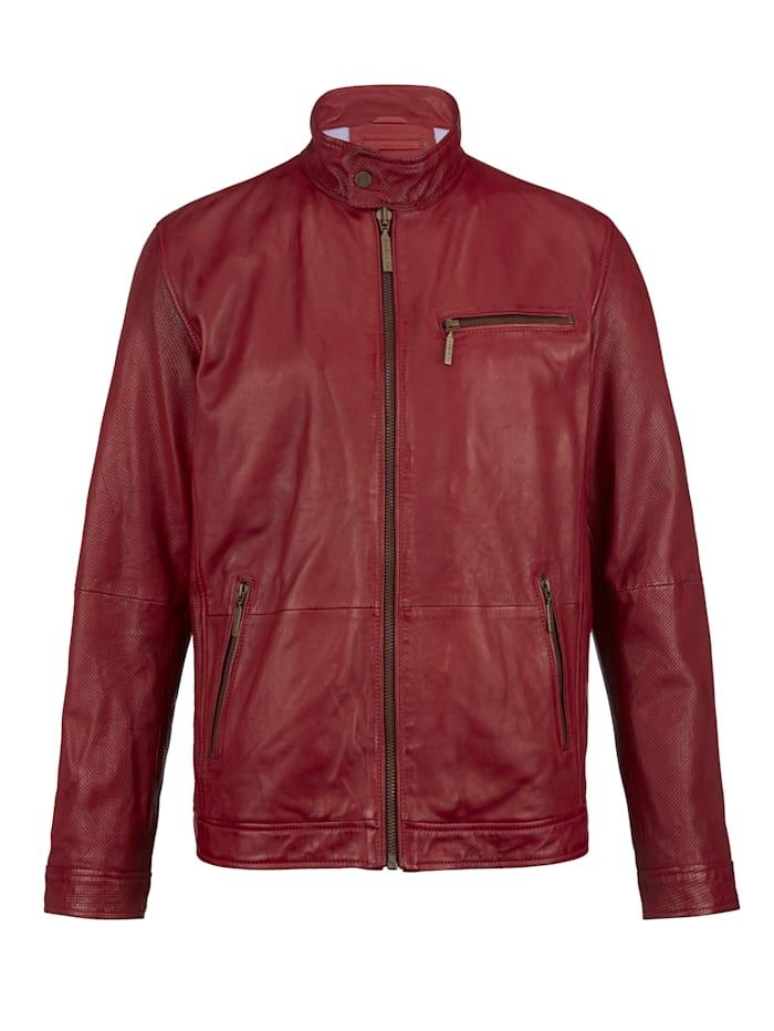 BABISTA Veste en cuir avec ajours mode, Rouge