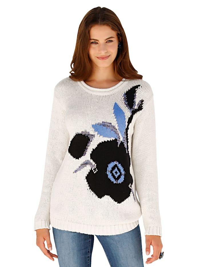 Pullover mit Intarsien-Strick im Vorderteil