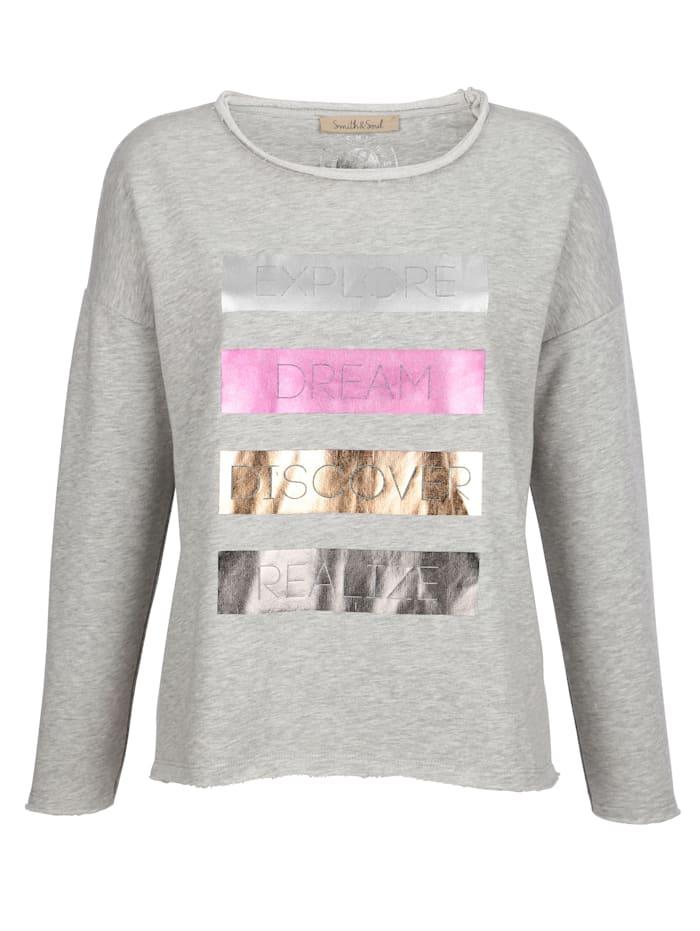 Sweatshirt mit silberfarbenem Glanzdruck