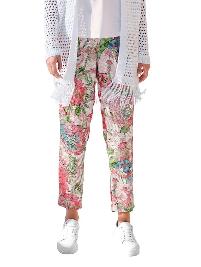 Betty Barclay Broek met bloemendessin allover, Roze/Pink/Groen