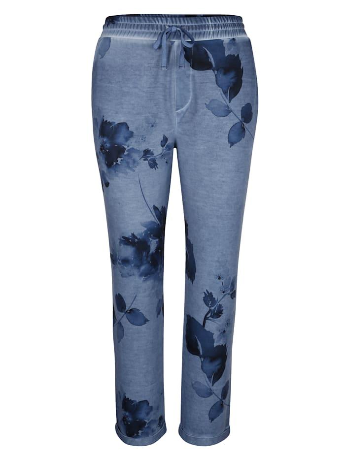 MIAMODA Nohavice s kvetinovou potlačou, Džínsová modrá