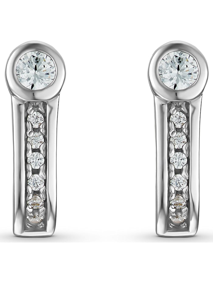 Jette JETTE Silver Damen-Ohrstecker 925er Silber 14 Zirkonia, silber