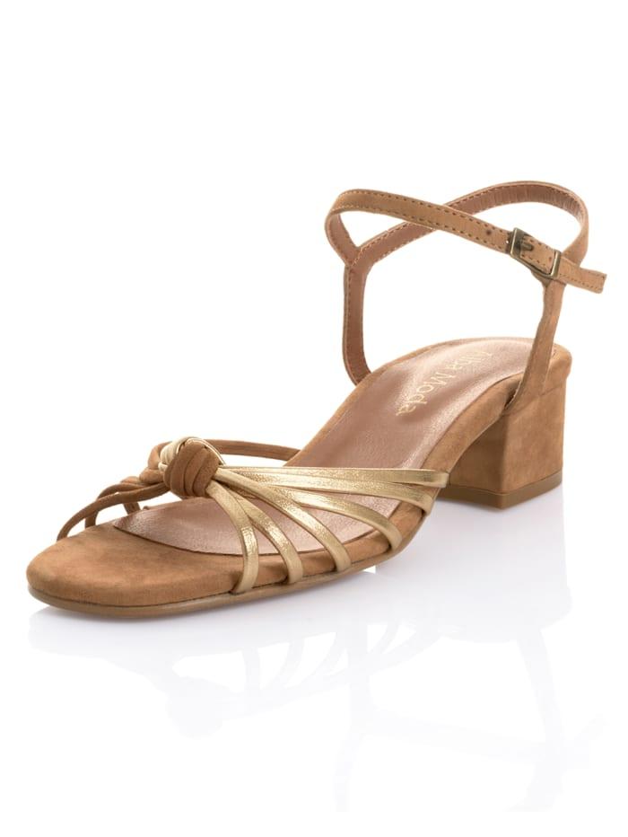Alba Moda Sandalette aus weichem Ziegenveloursleder, Cognac/Goldfarben