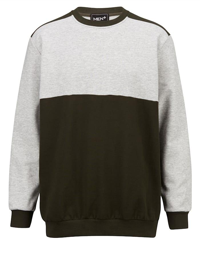 Men Plus Sweatshirt aus reiner Baumwolle, Oliv/Grau
