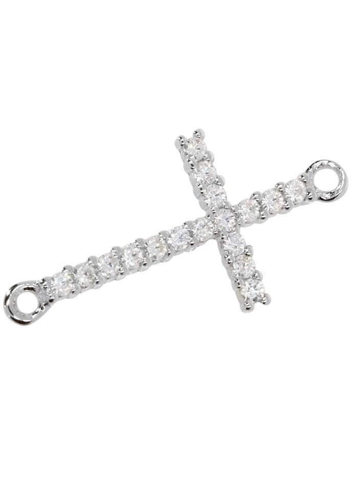 1001 Diamonds Damen Schmuck Edelstein Zirkonia Anhänger 925 Silber Kreuz, silber