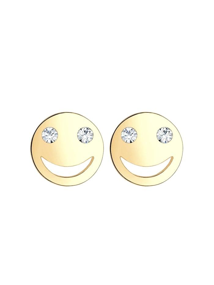 Ohrringe Smiley Face Emoji Kristalle 925 Silber