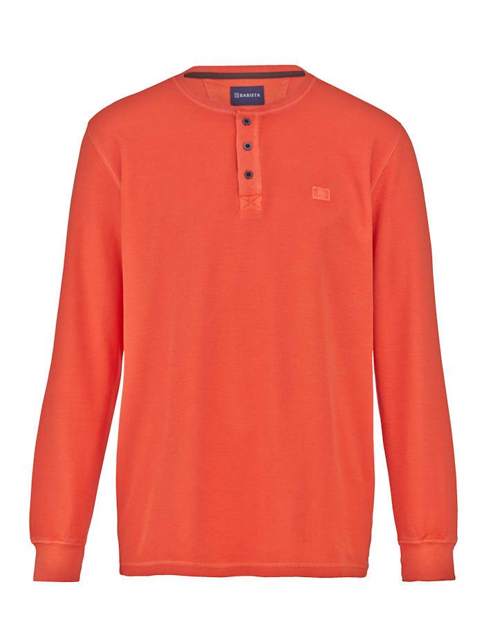 BABISTA T-shirt col tunisien en matière finement gaufrée, Orange