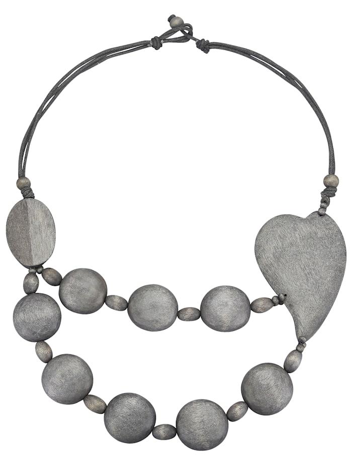 Halskette aus grauen Holzelementen mit Herz