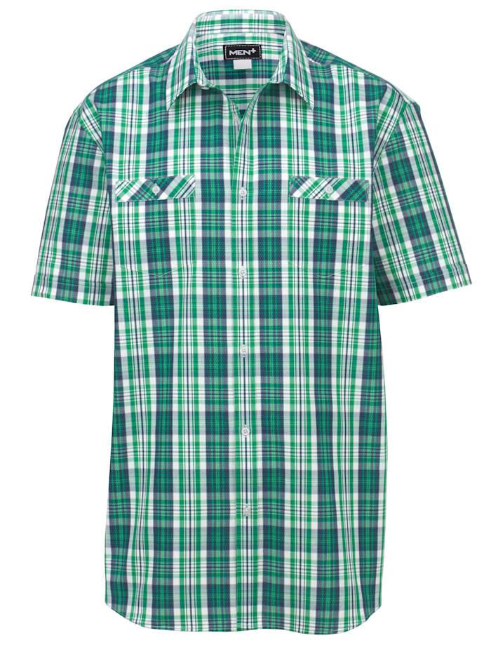 Men Plus Overhemd, Marine/Groen/Wit