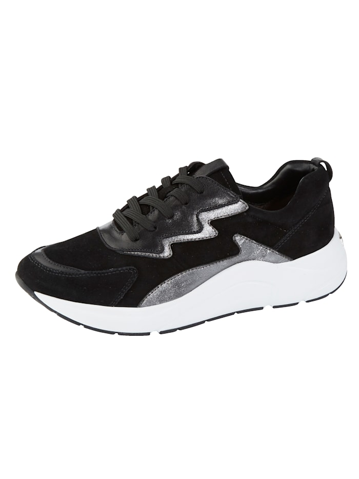 Caprice Sneakers en superbe association de cuirs, Noir