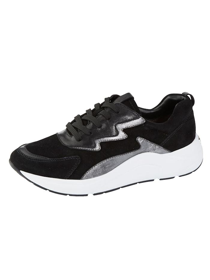 Caprice Sneakers i läcker skinnmix, Svart