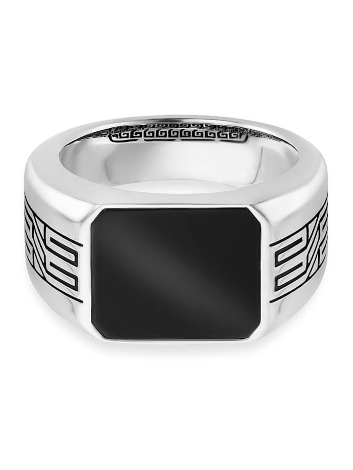CAI Ring 925/- Sterling Silber Onyx schwarz Glänzend 1,50ct 925/- Sterling Silber, weiß