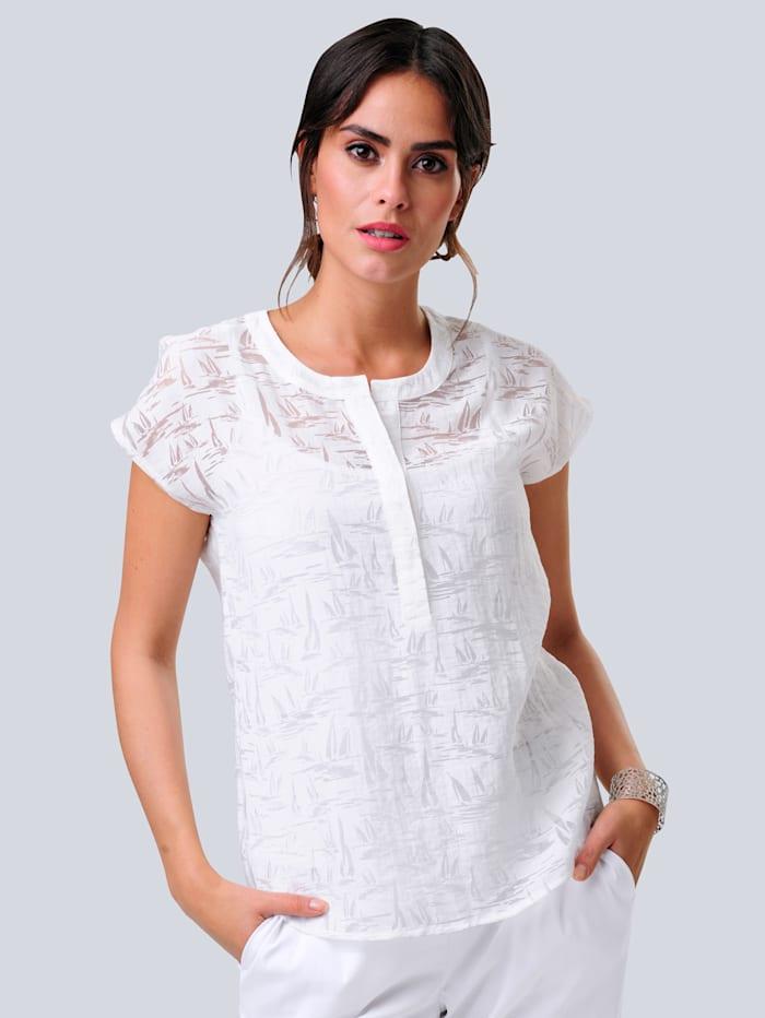 Alba Moda Bluse in schönem Ausbrenner-Dessin, Weiß