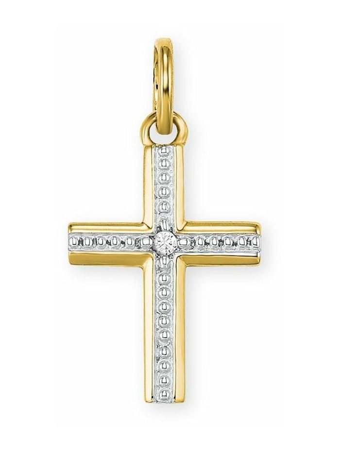 amor Anhänger für Damen, Gold 585, Zirkonia Kreuz, Gold