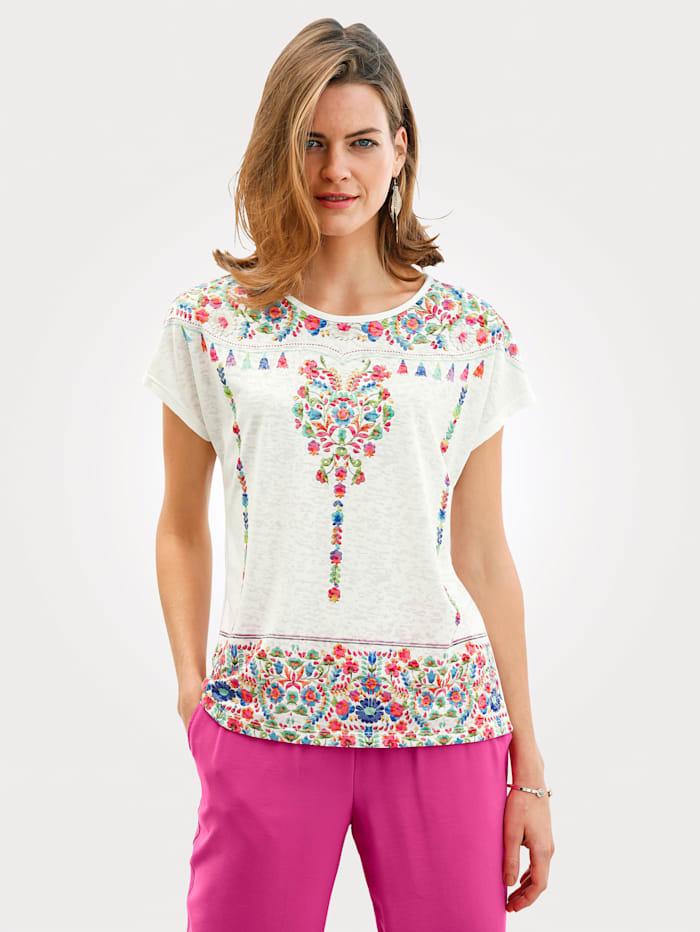 MONA T-shirt à imprimé placé, Blanc/Multicolore