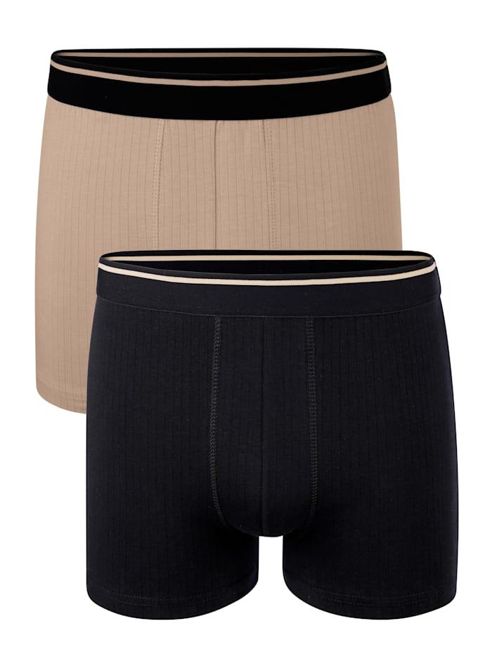 BABISTA Lot de 2 boxers à fines rayures, Noir/Nude
