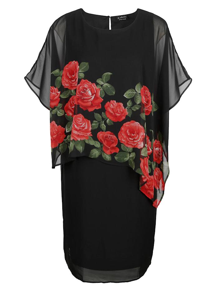 m. collection Robe à effet 2 en 1, Noir/Rouge