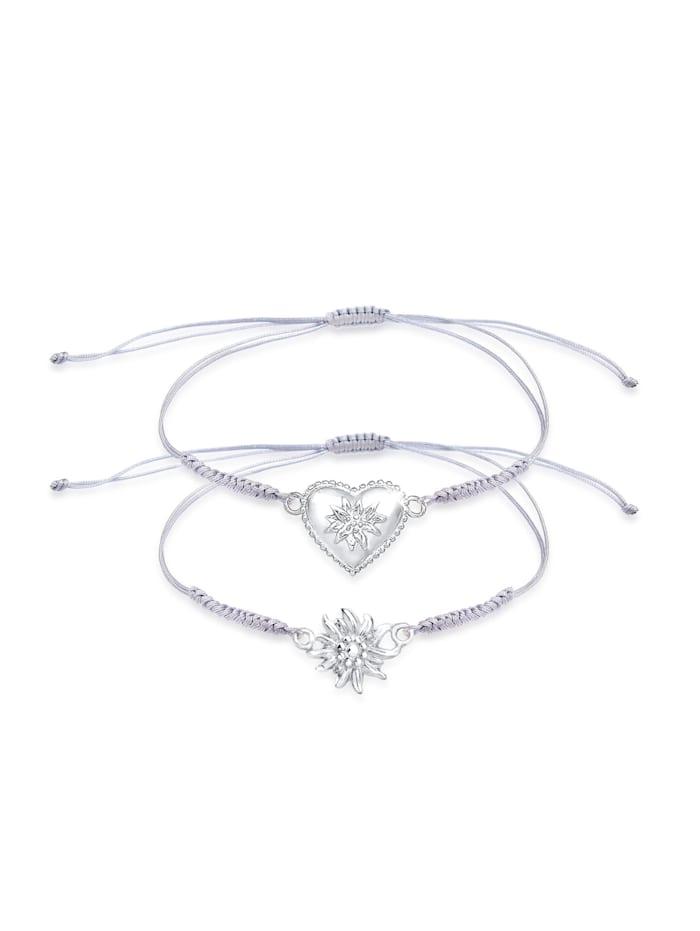 Elli Armband Set Edelweiss Herz Wiesn Trachten Nylon 925 Silber, Silber