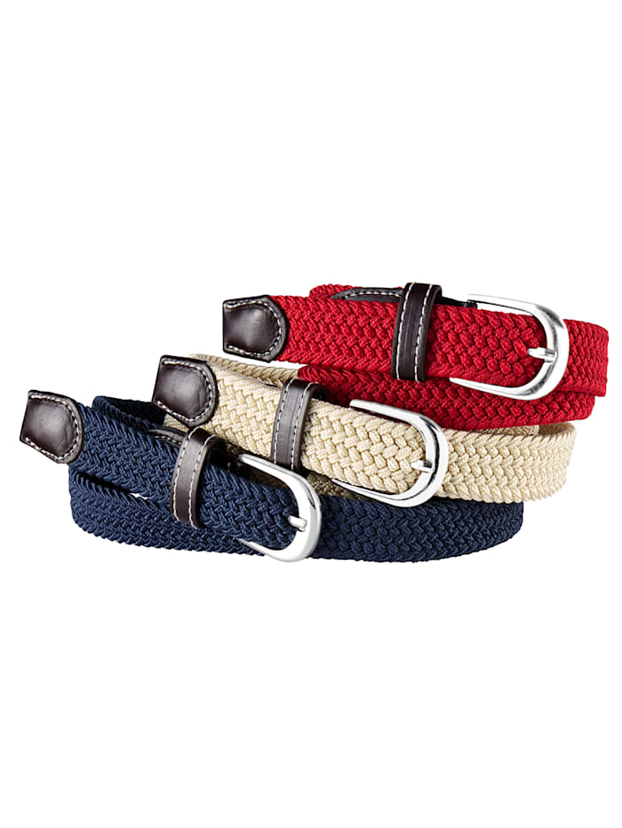 TRI Elastische riem per 3 stuks, rood, beige, blauw
