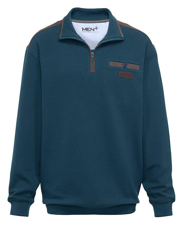 Men Plus Sweatshirt Spezialschnitt, Petrol