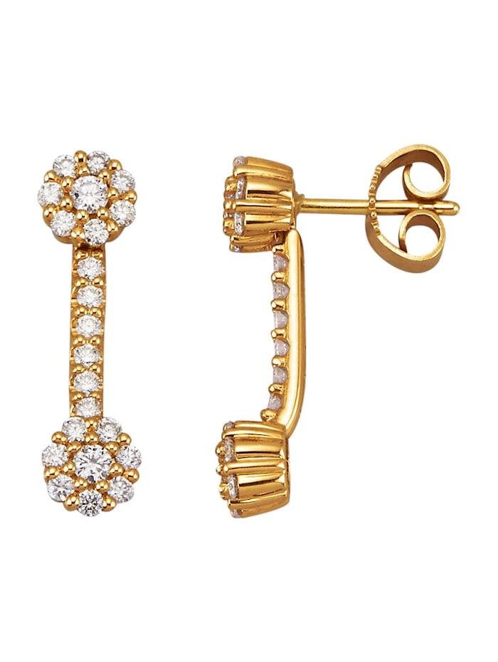 Diemer Diamant Set van 2 paar oorstekers met briljanten, Wit